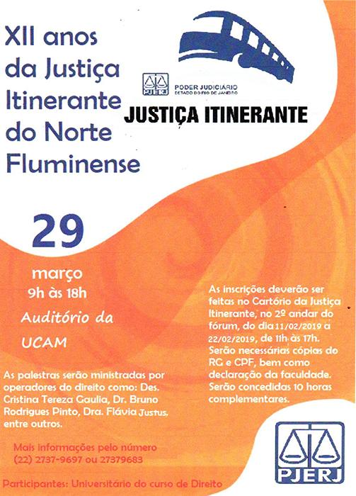 Evento em comemoração aos XII anos da Justiça Itinerante do Norte Fluminense acontece em março – 29 de março