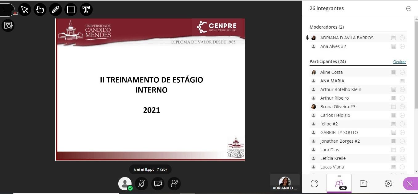 II Treinamento de Estágio Interno de 2021.