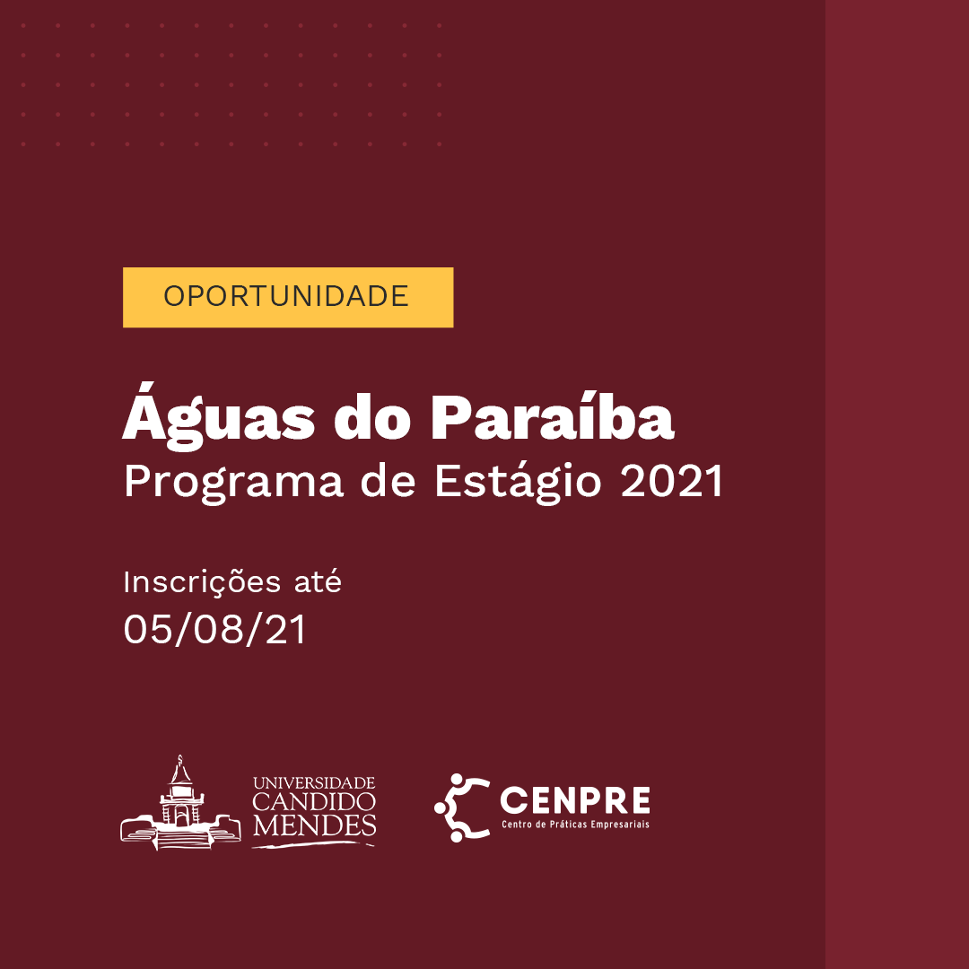 Inscrições abertas para o Programa de Estágio 2021 Águas do Paraíba